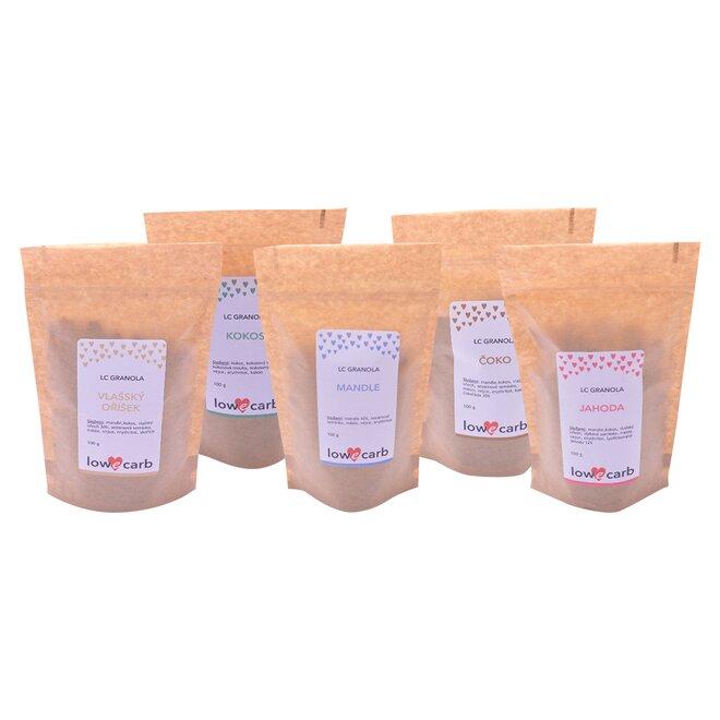 5x Low Carb granola (5x 100 g) – mix chutí