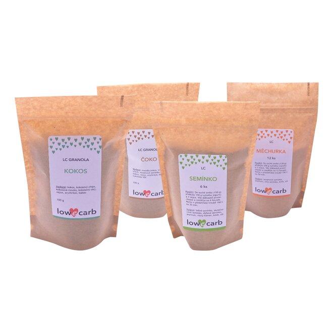 2x Low Carb směs na pečení (130 g a 150 g) a 2x Low Carb granola (2x 100 g)