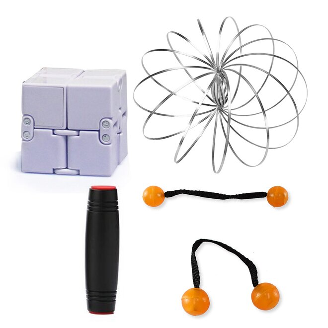 Mokuru černá + Thumb Chucks oranžová + Magic Cube + Zázračná pružina