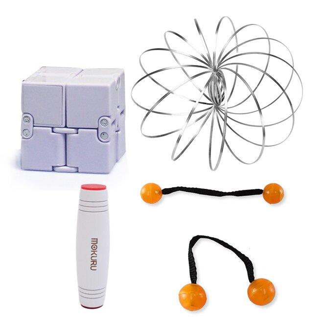 Mokuru bílá + Thumb Chucks oranžová + Magic Cube + Zázračná pružina