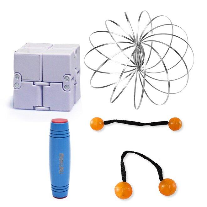 Mokuru modrá + Thumb Chucks oranžová + Magic Cube + Zázračná pružina