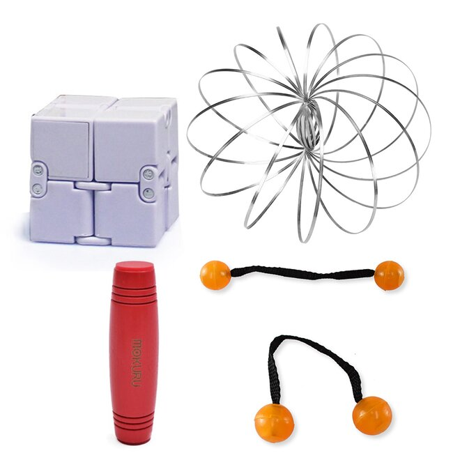 Mokuru červená + Thumb Chucks oranžová + Magic Cube + Zázračná pružina