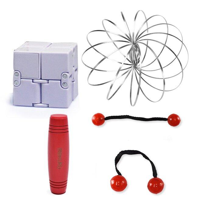 Mokuru červená + Thumb Chucks červená + Magic Cube + Zázračná pružina