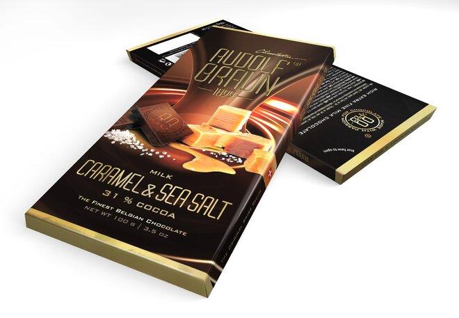 Mléčná čokoláda s karamelem a mořskou solí, 31 % kakaa