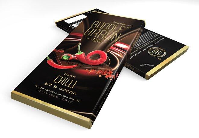 Hořká čokoláda s chilli, 57 % kakaa
