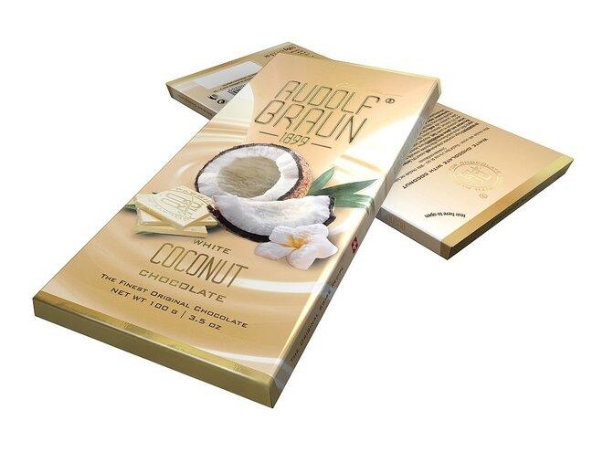 Bílá čokoláda s kousky kokosu, 27 % kakaa