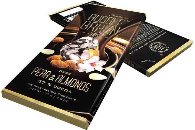 Hořká čokoláda s hruškou a mandlemi, 57 % kakaa
