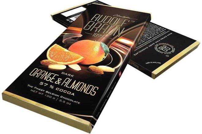 Hořká čokoláda s pomerančem a mandlemi, 57 % kakaa