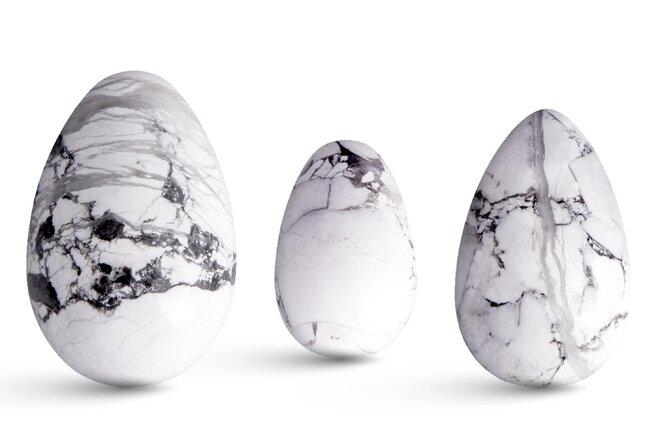 Sada 3 Yoni vajíček – howlit (magnezit)