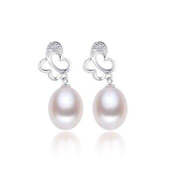 Stříbrné náušnice s pravou perlou motýlek