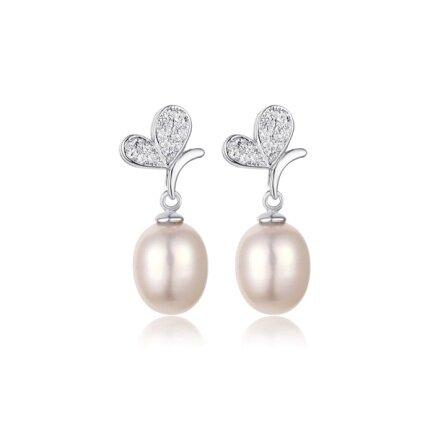 Stříbrné náušnice s pravou perlou Una
