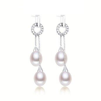 Stříbrné náušnice s pravou říční perlou visací (2 perly)