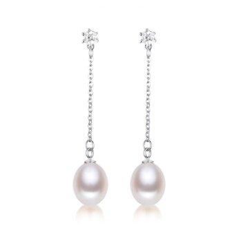 Stříbrné náušnice s pravou říční perlou visací