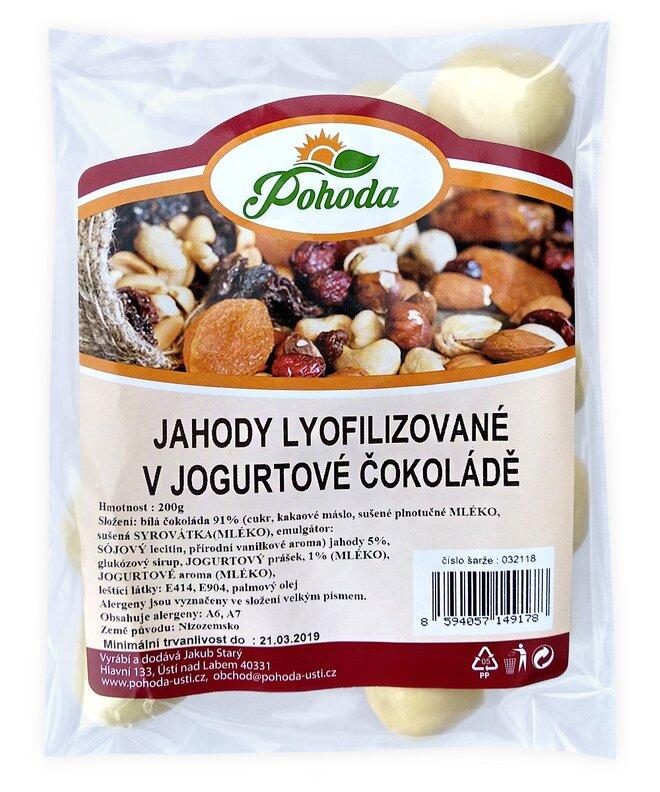 Jahody lyofilizované v jogurtové čokoládě, 200 g