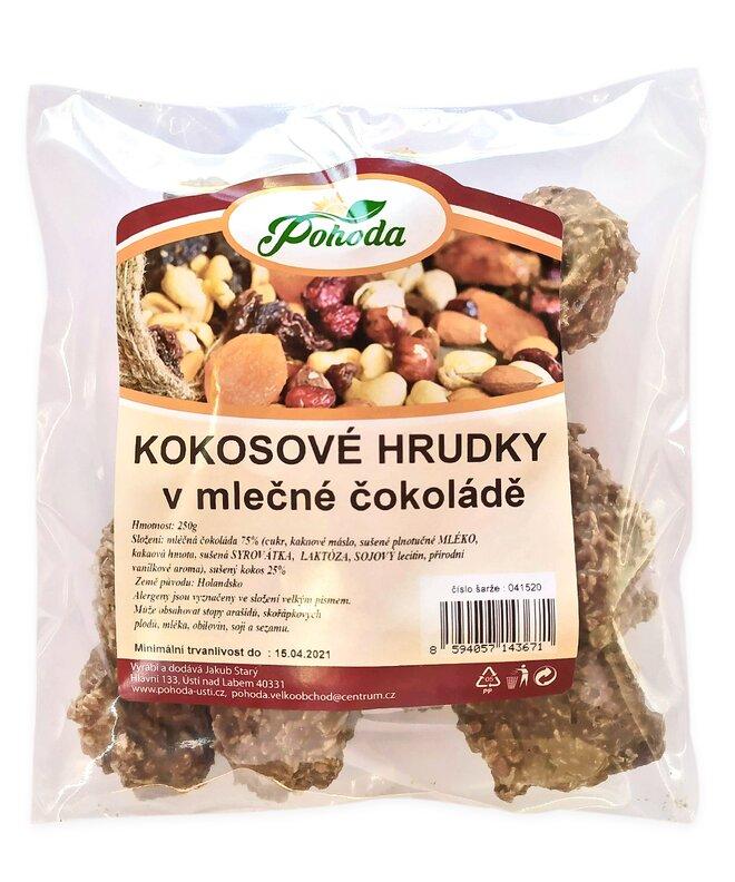 Hrudky kokosové v mléčné čokoládě, 250 g