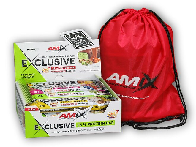 12x Exclusive Protein Bar 85 g + Amix BAG