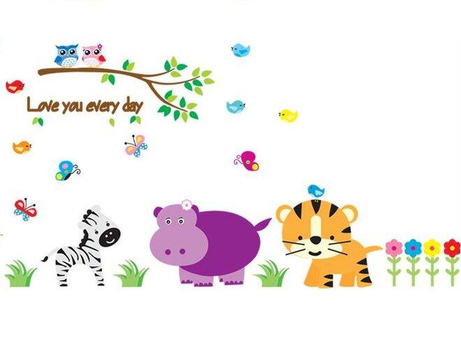 Dětské samolepky na zeď - Zvířátka z džungle