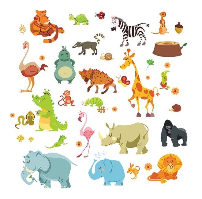 Dětské samolepky na zeď - Safari zvířátka