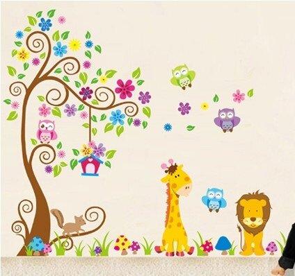 Dětské samolepky na zeď - Strom, zvířátka, sovičky