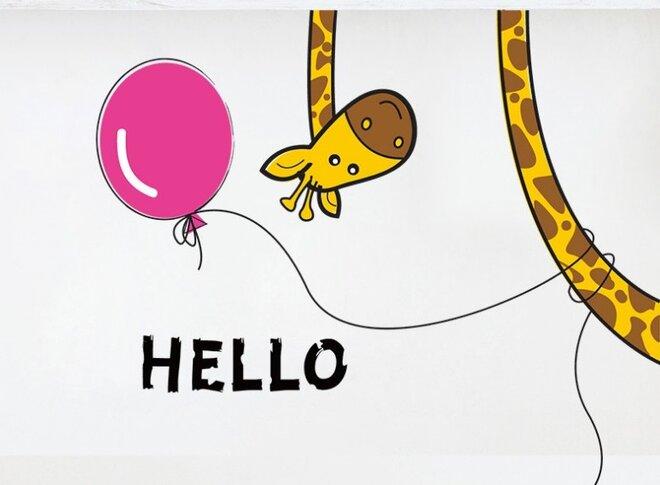 Dětské samolepky na zeď - Žirafa Hello