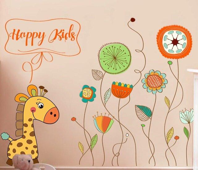 Dětské samolepky na zeď - Kytičky a žirafa