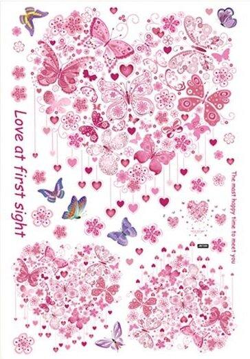 Dětské samolepky na zeď - Srdíčka a motýlci v růžovém