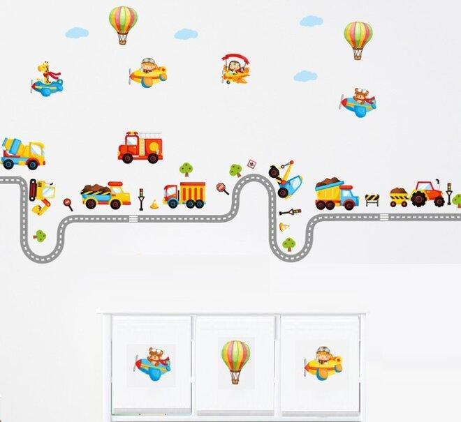 Dětské samolepky na zeď - Autodráha, autíčka, silnice
