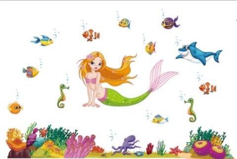 Dětská samolepka na zeď - Mořská panna a vodní svět