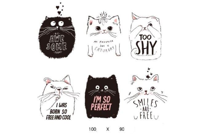 Dětské samolepky na zeď - Černobílé kočky