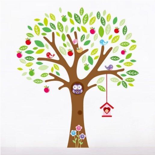 Dětské samolepky na zeď - Ptačí strom, soví hnízdo