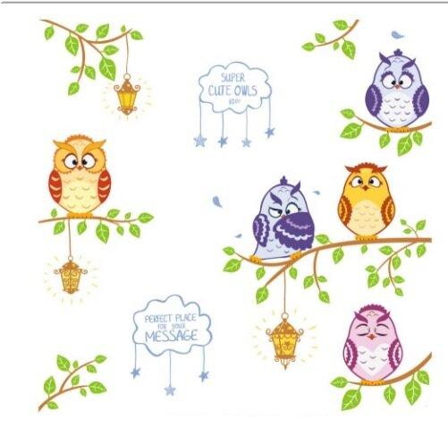 Dětské samolepky na zeď - Moudré sovičky