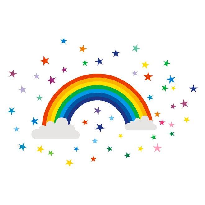 Dětské samolepky na zeď - Duha a hvězdičky