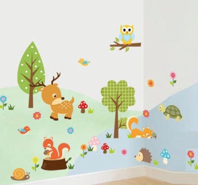 Dětské samolepky na zeď - Zvířátka v lese