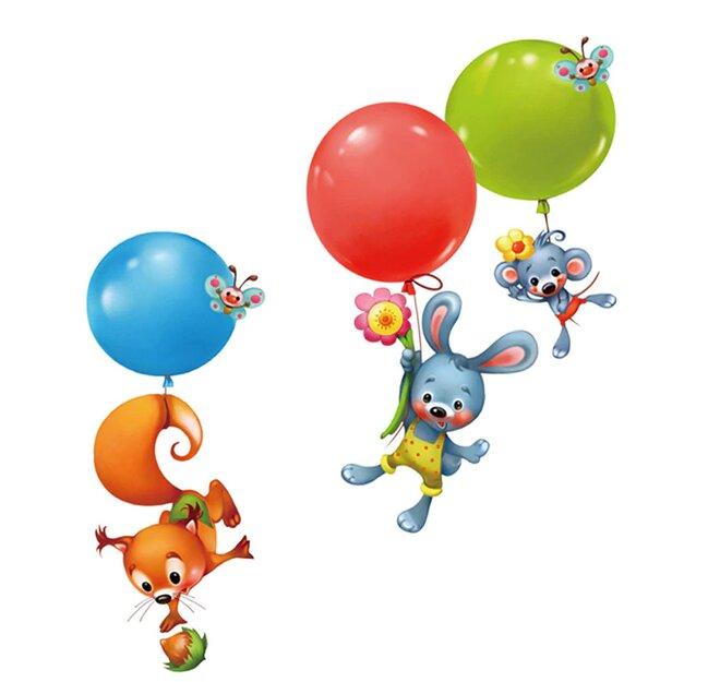 Dětské samolepky na zeď - Létající zvířátka s balónky