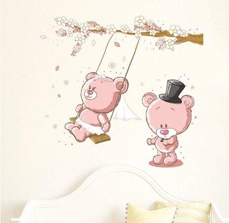 Dětská samolepka na zeď - Růžoví medvídci na houpačce