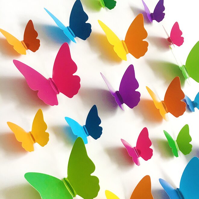 Dětské samolepky na zeď - 3d barevní motýlci