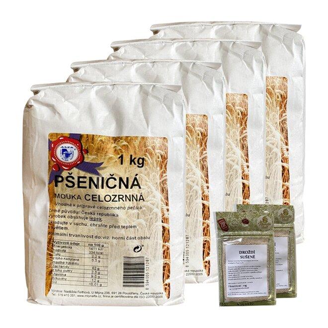 4x pšeničná mouka celozrnná + 2x sušené droždí