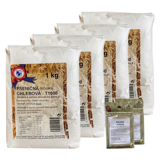 4x pšeničná mouka chlebová + 2x sušené droždí