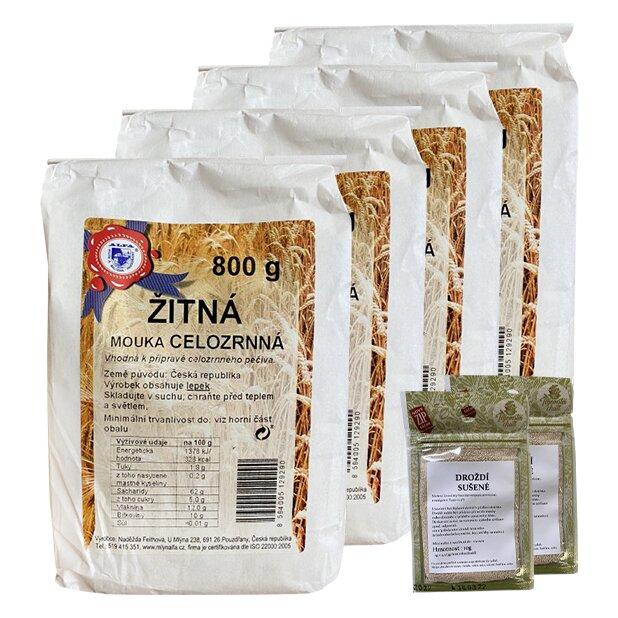 4x žitná mouka celozrnná + 2x sušené droždí