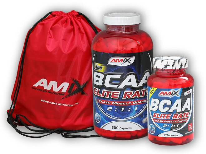 BCAA Elite Rate, 500 kapslí + dárek: BCAA Elite Rate a Amix Bag