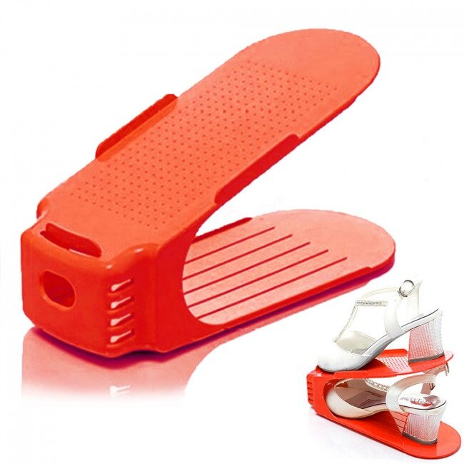 5x pevný stojan na pár obuvi - červený