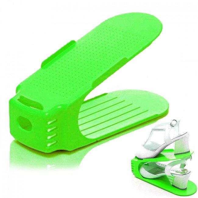 5x pevný stojan na pár obuvi - zelený