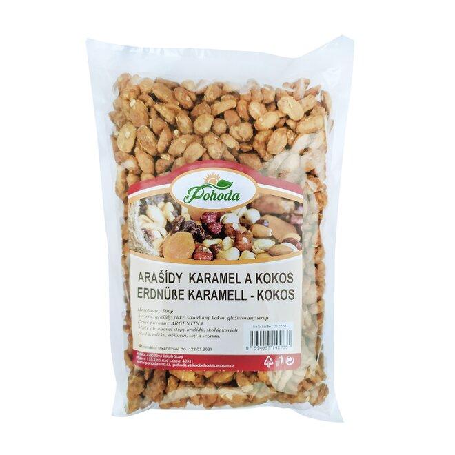 Arašídy v karamelu a kokosu, 500 g