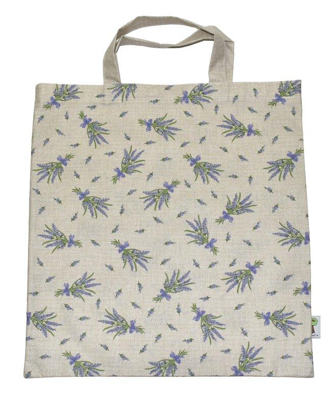 Nákupní taška a 3 stahovací pytlíky na potraviny – levandule