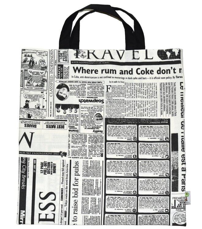 Nákupní taška a 3 stahovací pytlíky na potraviny – noviny
