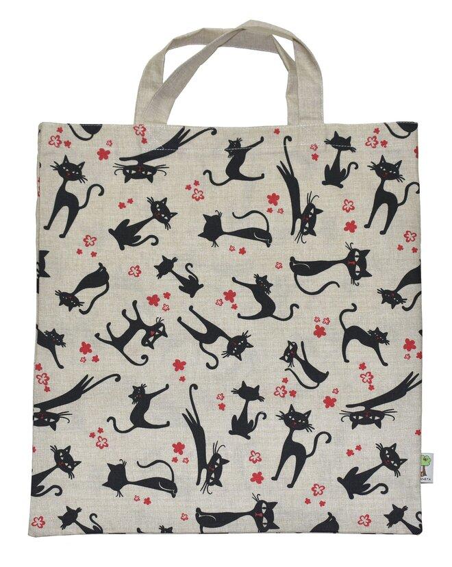 Nákupní taška a 3 stahovací pytlíky na potraviny – kočky