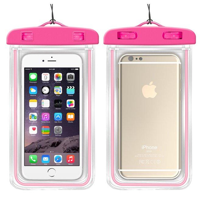 Vodotěsné pouzdro na mobil nebo doklady XL růžové