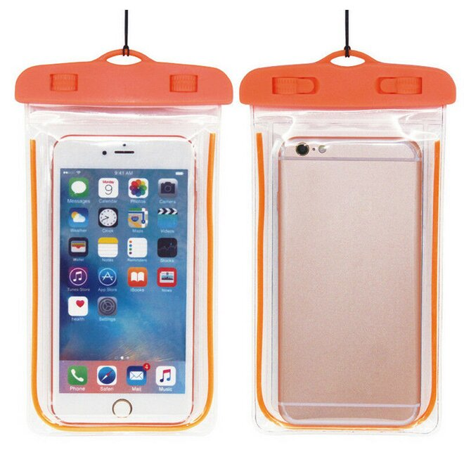 Vodotěsné pouzdro na mobil nebo doklady XL oranžové