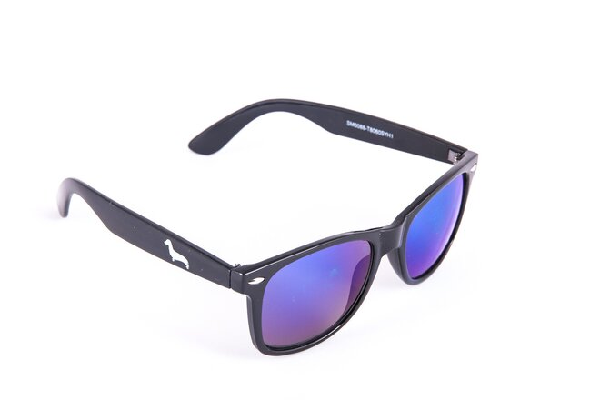 Černé brýle Kašmir Wayfarer W04 - skla modro-zelená zrcadlová