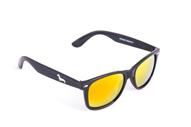 Černé brýle Kašmir Wayfarer W07 - skla oranžová zrcadlová